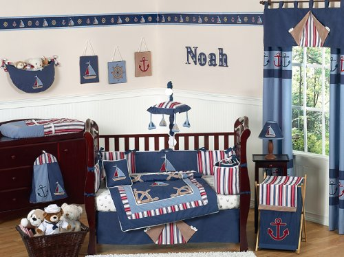 Nautical Nights Blue and White Sailboat Baby Boy Bedding 9pc Crib Set by Sweet Jojo Designs