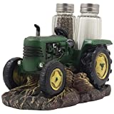 Vintage Farm Tractor Salt and Pepper Shaker Set with Decorative Display Stand Holder Figurine for Rustic Country Kitchen Decor & Old Fashioned Table Decorations As Retro Model Gifts for Farmers