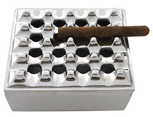 The Big Easy Ashtrays Polished Metal Square Grid CIGAR Ashtray