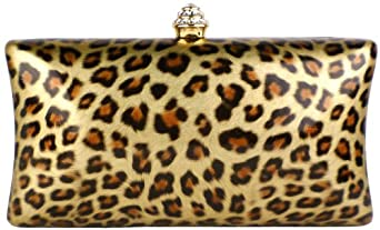 MG Collection Leopard Rhinestones Rectangle Hard Case Baguette Evening Clutch