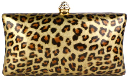 Untamed Golden Leopard Print Rhinestone Closure Rectangle Hard Case Baguette Evening Clutch Purse w/Detachable Chain