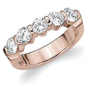 14K Rose Gold Diamond Bar Set Wedding Band (1.5 cttw, F-G Color, VS1-VS2 Clarity) Size 9.5