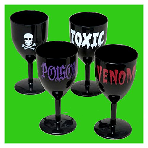 [Vampire Halloween Prop BLACK GOTHIC GOBLETS Party Cup Wine Drink Glasses 4pc SET Creepy Ornaments] (Wine Inspired Halloween Costumes)