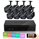 ELEC 8CH HDMI 960H DVR 700TVL Outdoor Indoor Day Night IR-CUT CCTV Surveillance Home Video Security Camera System , Motion Detection Push Alerts QR Code Quick Scan Remote Viewing- NO HDD