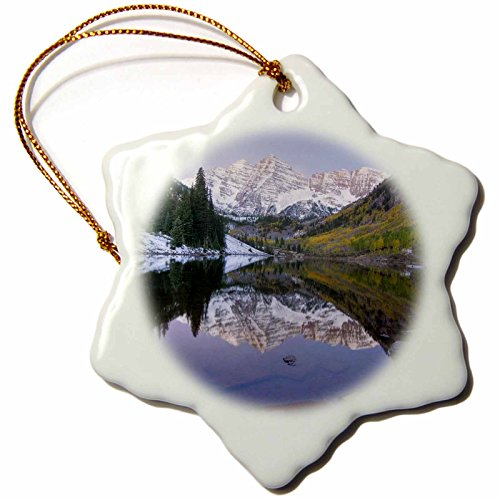 3dRose orn_88900_1 Colorado Rocky Mountains Aspen, Maroon Bells David Svilar Snowflake Decorative Hanging Ornament, Porcelain, 3-Inch