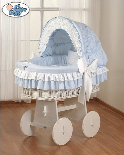 My Sweet Baby - Cosy White Wicker Crib Moses Basket - Blue
