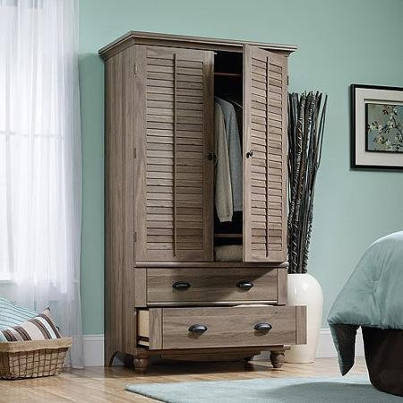 This Classic Cottage Oak Noir Style 2 Door 2 Drawer Vented Armoire and Entertainment Cabinet Is Perfect for Any Bedroom!