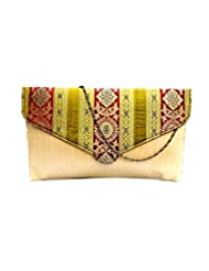 Bhamini Raw Silk Clutch With Multicoloured Traditional Design Flap (Light Gold)