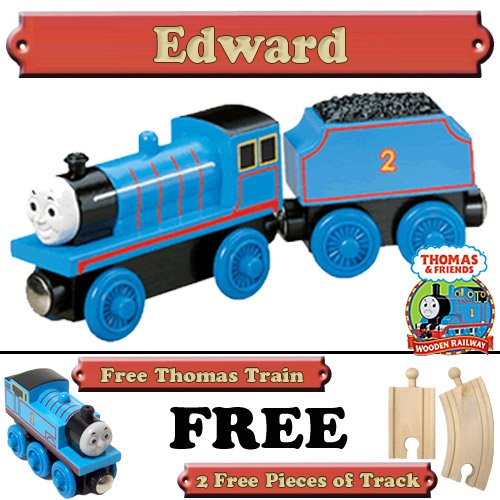 Edward from Thomas The Tank Engine Wooden Train Set - Free 2 Pieces of Track & Free Thomas the Tank Engine