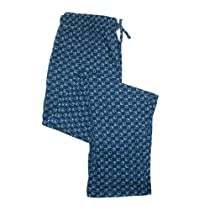 Hanes Mens Cotton ComfortSoft Printed Knit Pants, XXLarge, Navy with Geo Squares