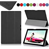 Sony Xperia Z2 10.1-inch Case Cover, Fyy® Ultra Slim Magnetic Smart Cover Case for Sony Xperia Z2 10.1-inch Black (With Auto Wake/Sleep Feature)