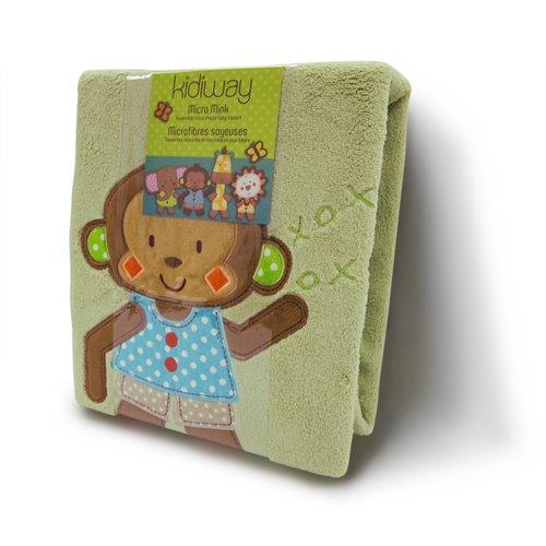 Kidiway Micro Mink Blanket, Green Monkey