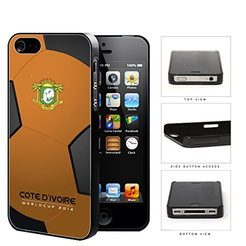 Cote D'Ivoire (Ivory Coast) World Cup 2014 Soccer Ball Hard Plastic Snap On Cell Phone Case Cover Iphone 4 4S