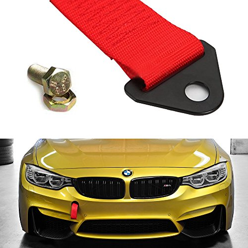 iJDMTOY Sports Red High Strength Racing Tow Strap Set for Front Or Rear Bumper Towing Hook (Chevy Tow Hooks compare prices)