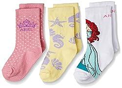 Walt Disney Girls' Socks (RDWD-1754/1755/1756_White, Pink and Yellow_5 - 6 years)