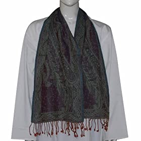 Scarves for Man Accessory Jacquard Design Wool Muffler 12 x 60 inches (wsmf064)