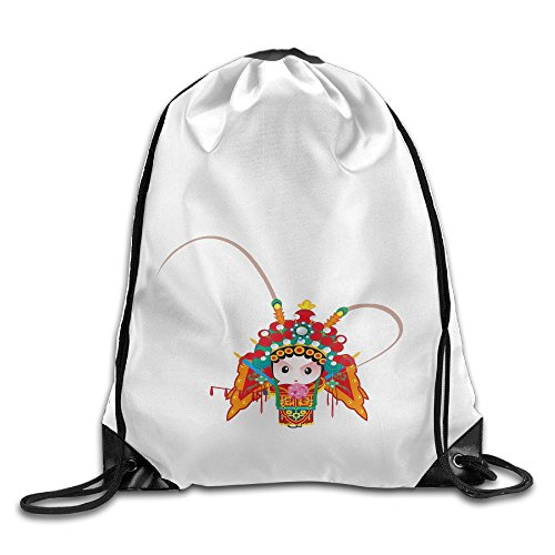Bekey Chinese Peking Opera Girl Gym Drawstring Backpack Bags For Men & Women For Home Travel Storage Use Gym Traveling Shopping Sport Yoga Running