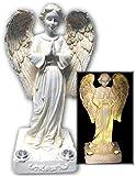 Praying Solar Angel Statue With 2 Yellow LED Solar Angel Lights