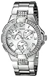 GUESS Women's G12557L Status-In-The-Round Crystal Silver-Tone Sport Watch