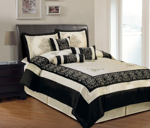 Elegant 7 Piece Beige And Black Faux Silk Embroidered And Flocking Comforter Set, Queen front-903455