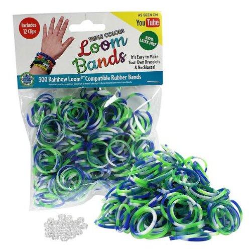 Telar de gomas - 300 Pc Triple banda de caucho relleno paquete de Color (azul, verde, blanco) - 100% látex libre y Compatible con los telares