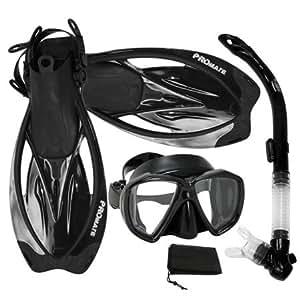 PROMATE Snorkeling Scuba Dive Semi-Dry Snorkel Fish-Eye Mask Fins Gear Set, BKBK, S/M