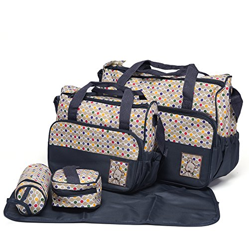 Mom Miya 5-in-1 Multifunction Large Capacity Baby Diaper Bag Nappy Changing Pad Travel Mummy Bag Tote Handbag Set (Dark BLue) (Diaper Bag With Changing Pad compare prices)