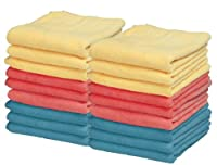 Ultra Micro Fiber Miracle Clothes (24 Pack) 12x12 Inch (Blue-red-yellow)