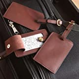 Leather Luggage Tags, Set of 3