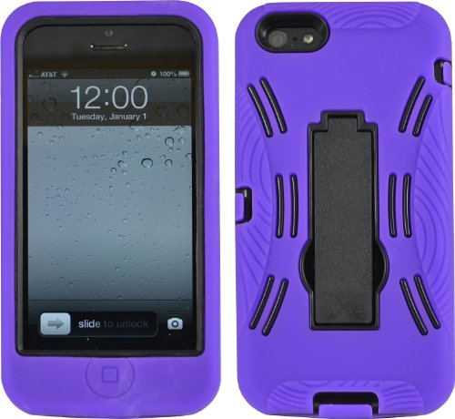 Purple Shock Proof Armored Defender Case/Cover With Stand For Iphone 5