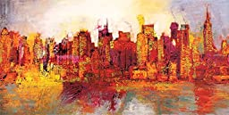 39W x 19H Abstract New York City by Brian Carter - Stretched Canvas w/ BRUSHSTROKES