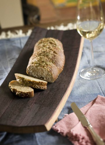 True Fabrications Used Wine Oak Barrel Bread Board Cutting Board (Made From Recycled And Used Wine Barrels) front-501472