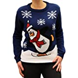 Novelty-Christmas-Jumper-Sweater-UK-Skating-Penguin-Royal-Blue-Men-Ladies-Unisex-XS-to-5XL