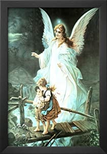 Professionally Framed Guardian Angel on Bridge Art Print Poster - 13x19 with Solid Black Wood Frame