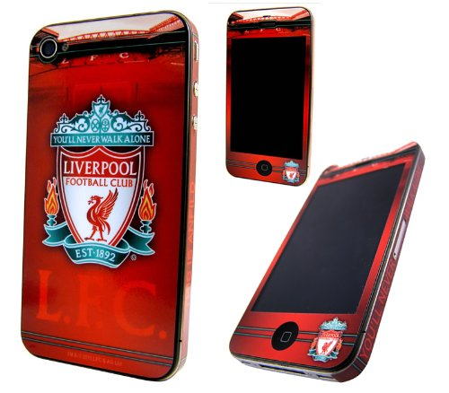 iTALKonline GENUINE OFFICIAL LICENSED RED WHITE Skin Sticker LIVERPOOL FC FOOTBALL CLUB LFC (You'll Never Walk Alone) For Apple iPhone 4 4G HD