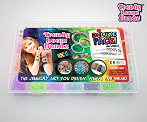 Loom Bands -Trendy Loom Bands Making Kit - Deluxe Loom Kit Contains 2200 Rubber Bands - Fun Arts And Crafts Projects For Girls - Make Bracelets Rings Necklace Jewellery - Glow In The Dark And Glitter Bands - Hours Of Creative Fun - Order Now