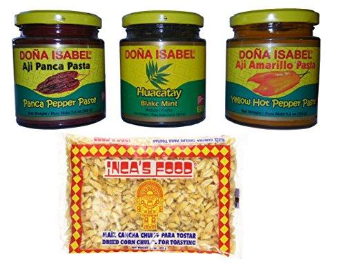 Food from the Incas 3 Peruvian Chile Sauces with Recipes-Aji Amarillo-Aji Panca-Salsa Huacatay (Black Mint), Inca's Food Maiz Cancha Chulpe (Aji Salsa compare prices)