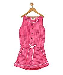 Budding Bees Girls Pink Printed Jumpsuit