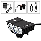 hkbayi NEW SolarStorm X3 3 Modes 5000Lumen 3xCree U2 XM-L LED Bicycle Bike light Headlight Bicycle Camping Headlight + Rechargeable Battery Pack+Charger
