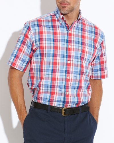 Savile Row Men's Red Blue Check Buttondown Collar Short Sleeved Casual Shirt Size X-Large