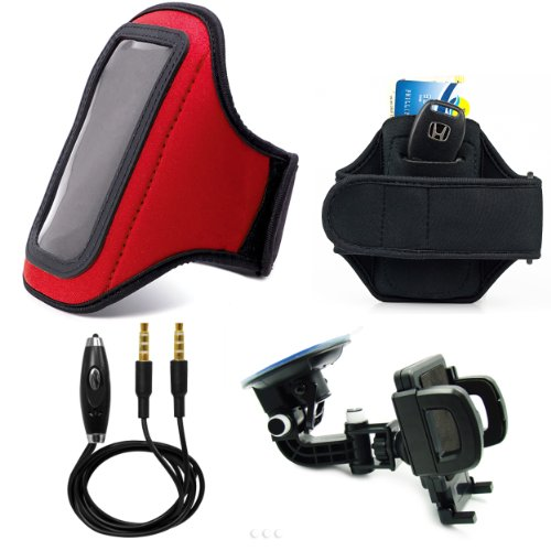 Red Comfy Sport Band / Workout Armband Adjustable Neoprene Velcro Strap With Key Pocket For Motorola Razr V Android Smartphone + Includes A 3.5Mm To 3.5Mm Stereo Audio Cable With Built In Microphone + 360° Car Rotatable Windshield Mount Kit