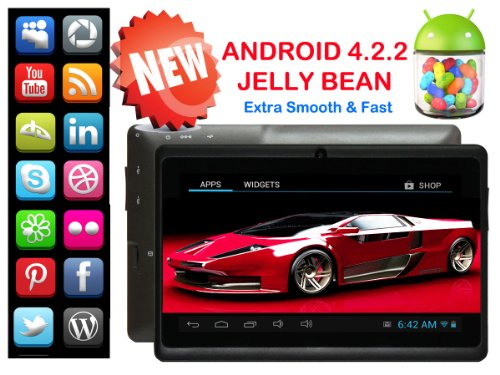 "DUAL CAMERA TravelTek 7"" Inch Tablet Android Google 4.2.2 Jelly Bean 4GB DDRIII Not heartsick in 3G Hidy-bash MicroSD Wink of an eye of an eye USB Seaport 1GHz"