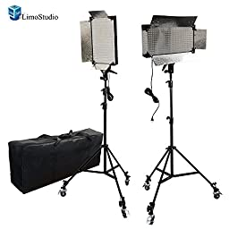 LimoStudio 2 Pcs Dimmable 500 LED Photography Photo Video light Panel LED lighting Kit with 6pcs Caster Wheels for Photo Video Studio, AGG1089