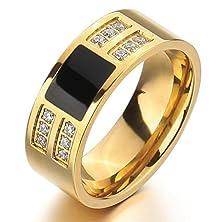 buy Men'S Stainless Steel Enamel Ring Band Cz Gold Black Classic Wedding Charm Elegant Size6