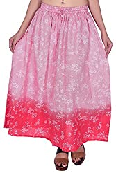MSONS Women's Fusion Wear Red Floral Printed Long Maxi Skirt in Cotton Fabric - Free Size