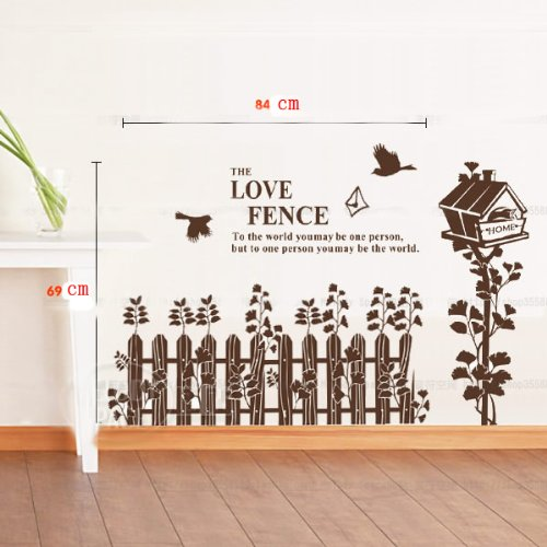 Love home fence nursery kids roomremovable quote vinyl wall decals stickers