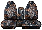 2004 to 2012 Ford Ranger/Mazda B-Series Camo Truck Seat Covers (60/40 Split Bench) with Console/Armrest Cover: Gray Real Tree Camo (16 Prints Available)
