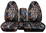 2004 to 2012 Ford Ranger/Mazda B-Series Camo Truck Seat Covers (60/40 Split Bench) with Center Console/Armrest Cover: Gray Real Tree Camo (16 Prints Available)