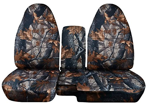 2004 to 2012 Ford Ranger/Mazda B-Series Camo Truck Seat Covers (60/40 Split Bench) with Center Console/Armrest Cover: Gray Real Tree Camo (16 Prints Available) (Real Tree Truck Seat Covers compare prices)