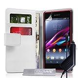Yousave Accessories SE-HA01-Z929C Etui portefeuille en PU/cuir pour Sony Xperia Z1 Compact Blanc
